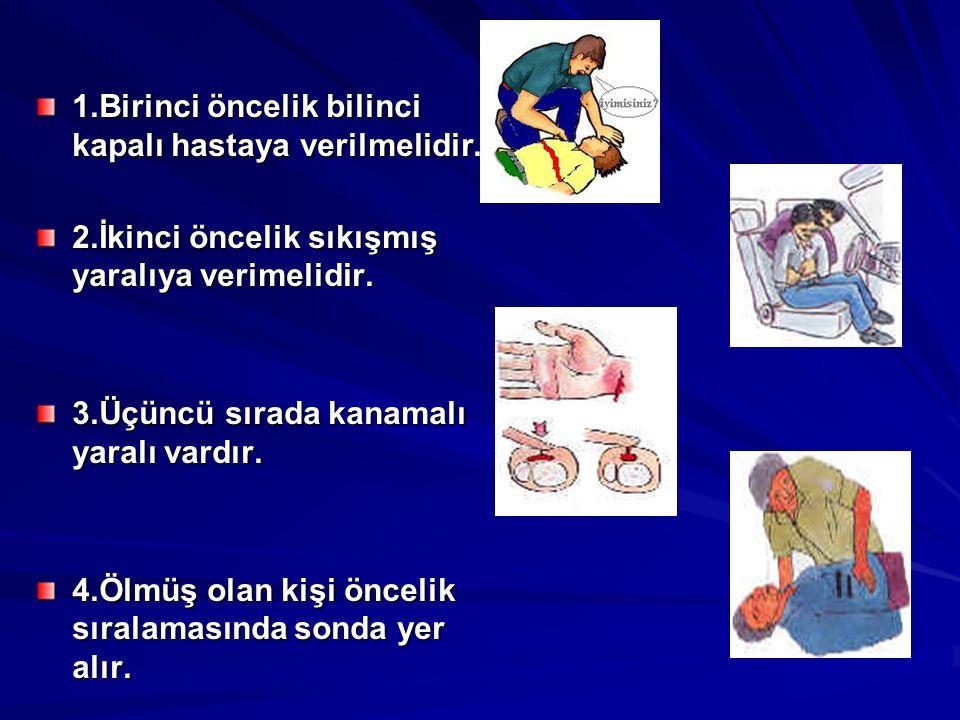 1.Birinci öncelik bilinci kapalı hastaya verilmelidir.