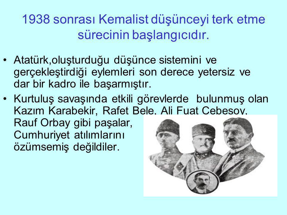 1938 sonrası Kemalist düşünceyi terk etme sürecinin başlangıcıdır.