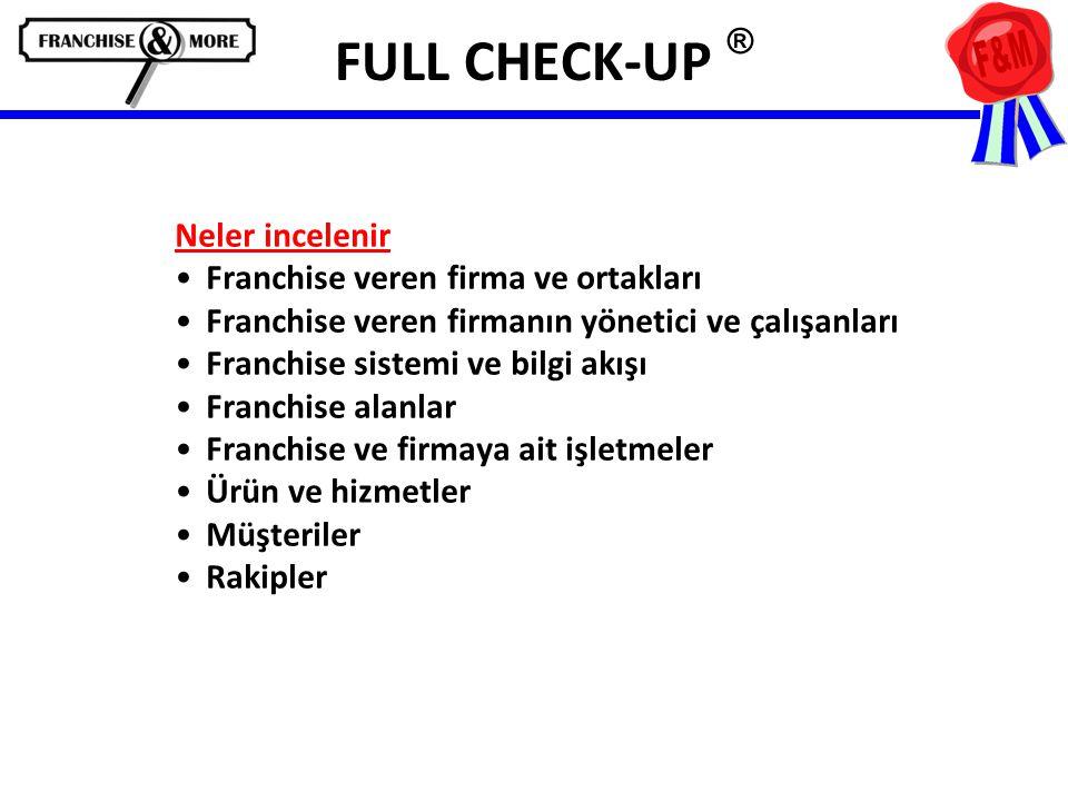 FULL CHECK-UP ® Neler incelenir •Franchise veren firma ve ortakları •Franchise veren firmanın yönetici ve çalışanları •Franchise sistemi ve bilgi akışı •Franchise alanlar •Franchise ve firmaya ait işletmeler •Ürün ve hizmetler •Müşteriler •Rakipler