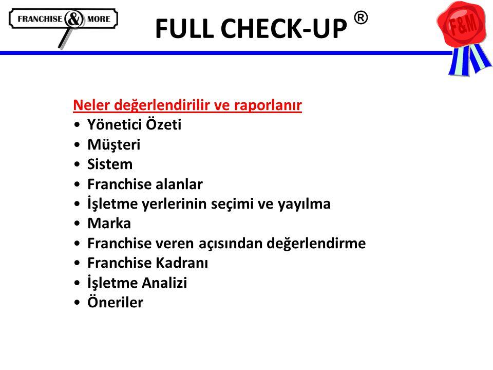 FULL CHECK-UP ® Neler değerlendirilir ve raporlanır •Yönetici Özeti •Müşteri •Sistem •Franchise alanlar •İşletme yerlerinin seçimi ve yayılma •Marka •