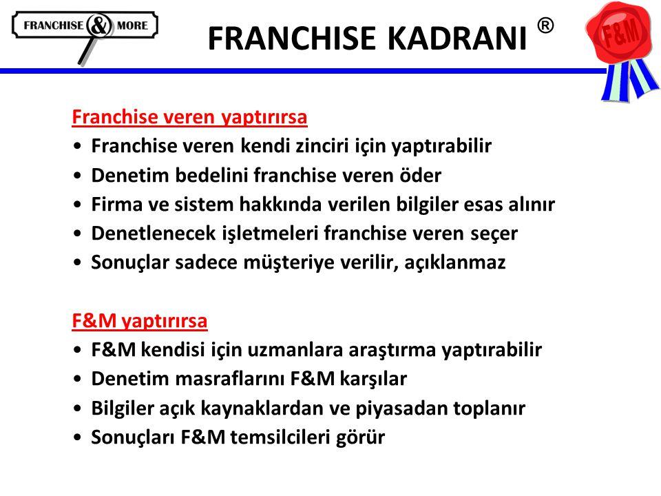 FRANCHISE KADRANI ® Franchise veren yaptırırsa •Franchise veren kendi zinciri için yaptırabilir •Denetim bedelini franchise veren öder •Firma ve sistem hakkında verilen bilgiler esas alınır •Denetlenecek işletmeleri franchise veren seçer •Sonuçlar sadece müşteriye verilir, açıklanmaz F&M yaptırırsa •F&M kendisi için uzmanlara araştırma yaptırabilir •Denetim masraflarını F&M karşılar •Bilgiler açık kaynaklardan ve piyasadan toplanır •Sonuçları F&M temsilcileri görür