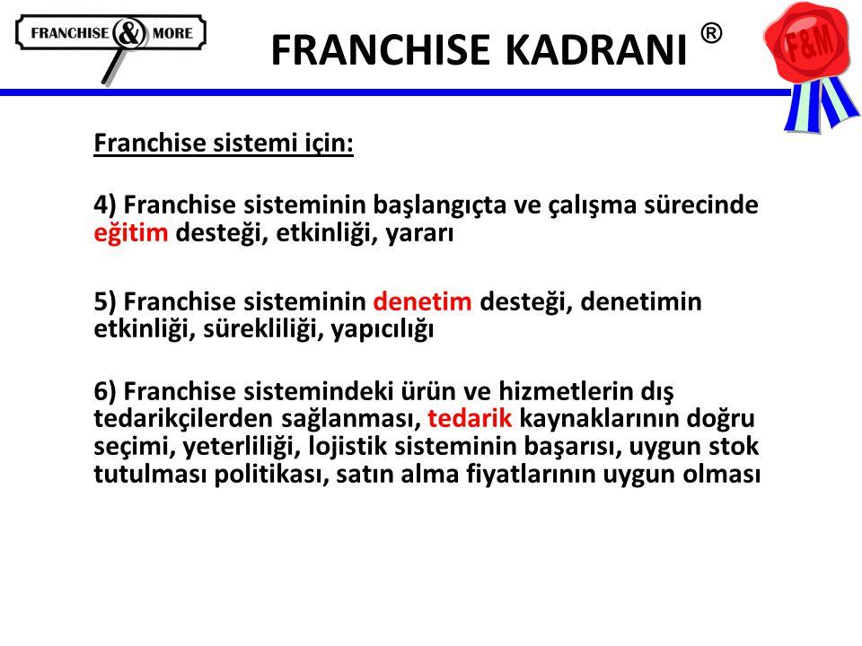 FRANCHISE KADRANI ® Franchise sistemi için: 4) Franchise sisteminin başlangıçta ve çalışma sürecinde eğitim desteği, etkinliği, yararı 5) Franchise si