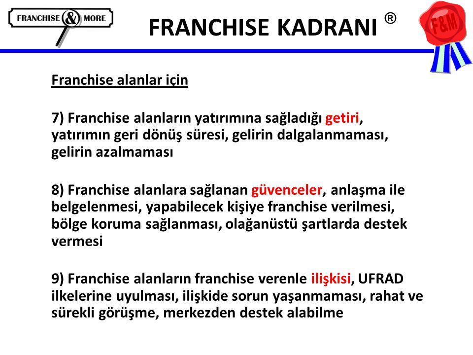 FRANCHISE KADRANI ® Franchise alanlar için 7) Franchise alanların yatırımına sağladığı getiri, yatırımın geri dönüş süresi, gelirin dalgalanmaması, gelirin azalmaması 8) Franchise alanlara sağlanan güvenceler, anlaşma ile belgelenmesi, yapabilecek kişiye franchise verilmesi, bölge koruma sağlanması, olağanüstü şartlarda destek vermesi 9) Franchise alanların franchise verenle ilişkisi, UFRAD ilkelerine uyulması, ilişkide sorun yaşanmaması, rahat ve sürekli görüşme, merkezden destek alabilme