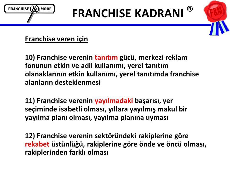 FRANCHISE KADRANI ® Franchise veren için 10) Franchise verenin tanıtım gücü, merkezi reklam fonunun etkin ve adil kullanımı, yerel tanıtım olanaklarının etkin kullanımı, yerel tanıtımda franchise alanların desteklenmesi 11) Franchise verenin yayılmadaki başarısı, yer seçiminde isabetli olması, yıllara yayılmış makul bir yayılma planı olması, yayılma planına uyması 12) Franchise verenin sektöründeki rakiplerine göre rekabet üstünlüğü, rakiplerine göre önde ve öncü olması, rakiplerinden farklı olması