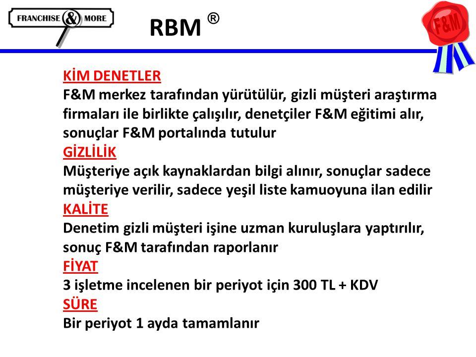 RBM ® KİM DENETLER F&M merkez tarafından yürütülür, gizli müşteri araştırma firmaları ile birlikte çalışılır, denetçiler F&M eğitimi alır, sonuçlar F&