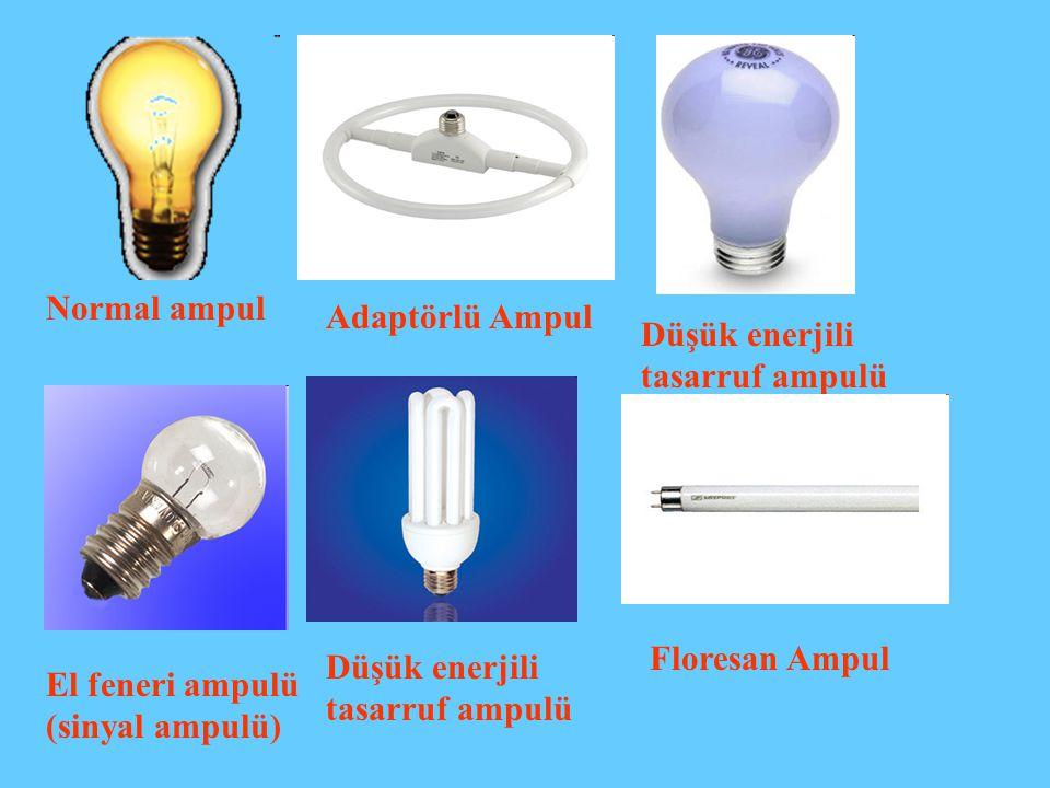 Adaptörlü Ampul Düşük enerjili tasarruf ampulü El feneri ampulü (sinyal ampulü) Normal ampul Düşük enerjili tasarruf ampulü Floresan Ampul