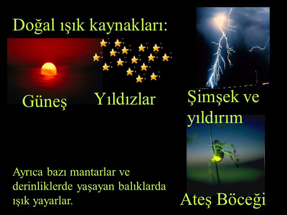 Doğal ışık kaynakları ; doğada kendiliğinden varolan ve etrafını aydınlatan ışık kaynaklarıdır..