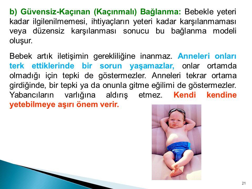 21 b) Güvensiz-Kaçınan (Kaçınmalı) Bağlanma: Bebekle yeteri kadar ilgilenilmemesi, ihtiyaçların yeteri kadar karşılanmaması veya düzensiz karşılanması