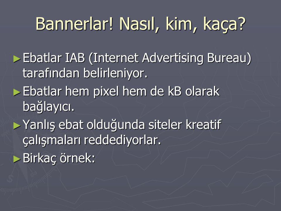 Bannerlar. Nasıl, kim, kaça. ► Ebatlar IAB (Internet Advertising Bureau) tarafından belirleniyor.