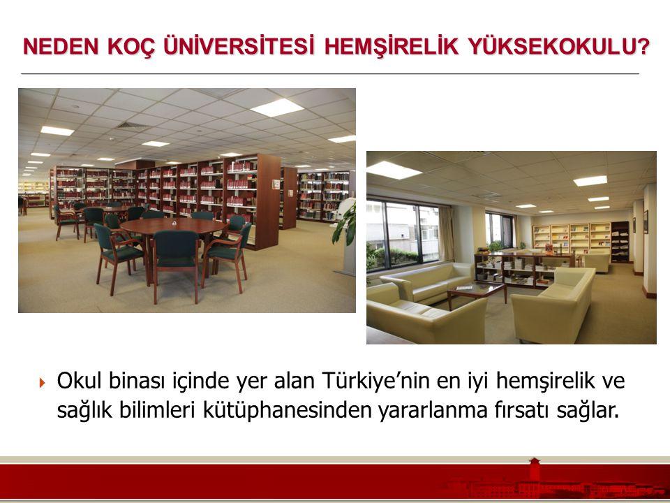 Koç Üniversitesi – Mühendislik Fakültesi  Okul binası içinde yer alan Türkiye'nin en iyi hemşirelik ve sağlık bilimleri kütüphanesinden yararlanma fı