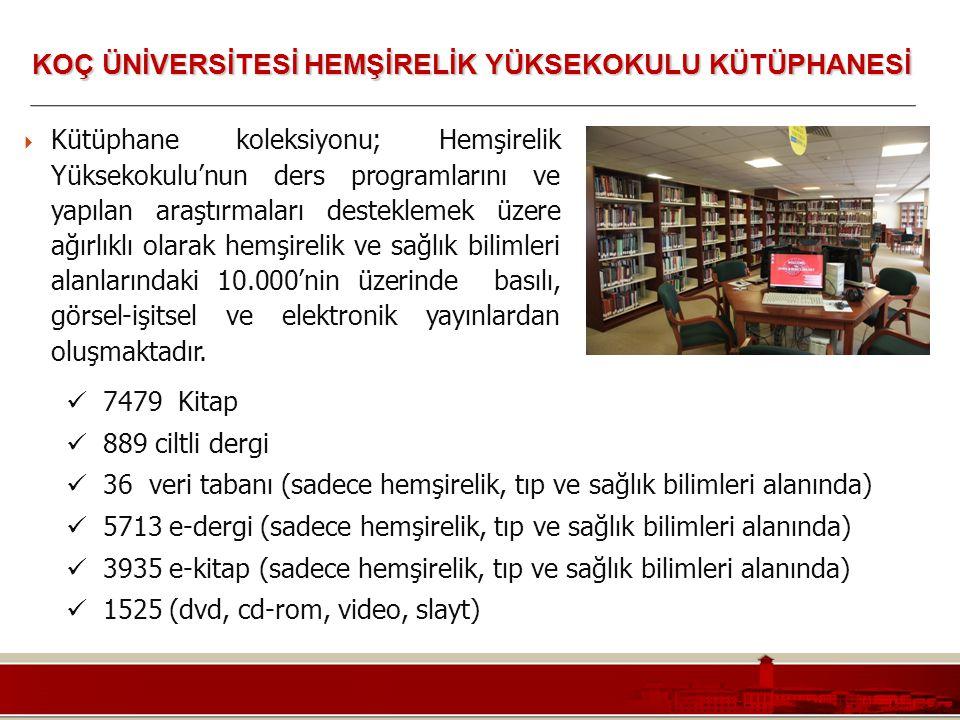 Koç Üniversitesi – Mühendislik Fakültesi  Kütüphane koleksiyonu; Hemşirelik Yüksekokulu'nun ders programlarını ve yapılan araştırmaları desteklemek ü
