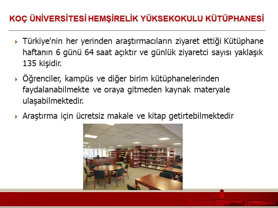 Koç Üniversitesi – Mühendislik Fakültesi  Türkiye'nin her yerinden araştırmacıların ziyaret ettiği Kütüphane haftanın 6 günü 64 saat açıktır ve günlü