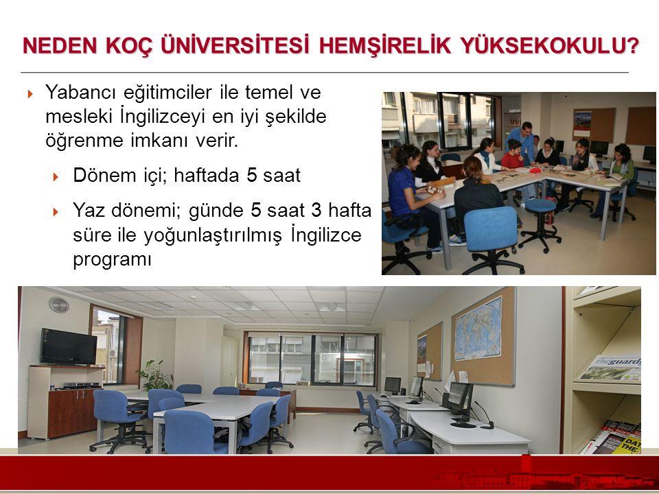 Koç Üniversitesi – Mühendislik Fakültesi  Yabancı eğitimciler ile temel ve mesleki İngilizceyi en iyi şekilde öğrenme imkanı verir.  Dönem içi; haft