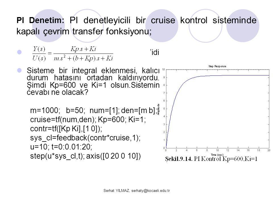 Serhat YILMAZ, serhaty@kocaeli.edu.tr PI Denetim: PI denetleyicili bir cruise kontrol sisteminde kapalı çevrim transfer fonksiyonu;  'idi  Sisteme b