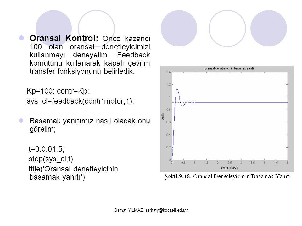 Serhat YILMAZ, serhaty@kocaeli.edu.tr  Oransal Kontrol: Önce kazancı 100 olan oransal denetleyicimizi kullanmayı deneyelim. Feedback komutunu kullana