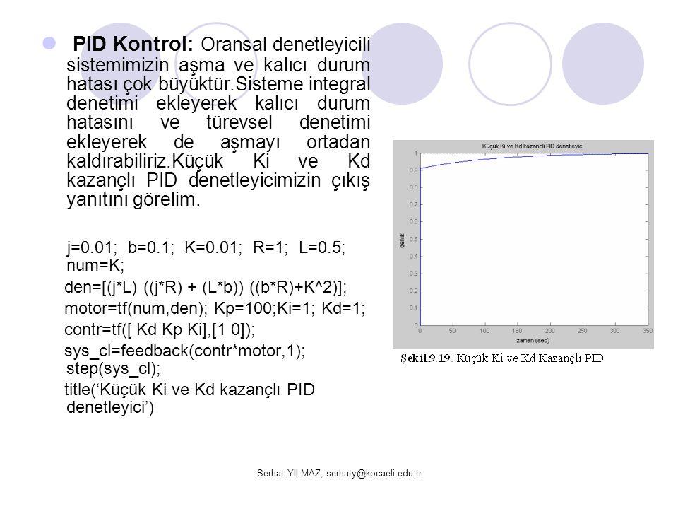 Serhat YILMAZ, serhaty@kocaeli.edu.tr  PID Kontrol: Oransal denetleyicili sistemimizin aşma ve kalıcı durum hatası çok büyüktür.Sisteme integral dene