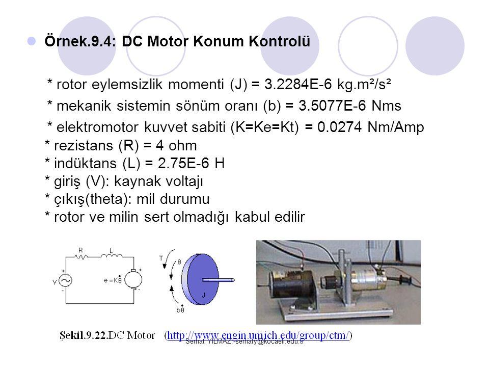 Serhat YILMAZ, serhaty@kocaeli.edu.tr  Örnek.9.4: DC Motor Konum Kontrolü * rotor eylemsizlik momenti (J) = 3.2284E-6 kg.m²/s² * mekanik sistemin sön