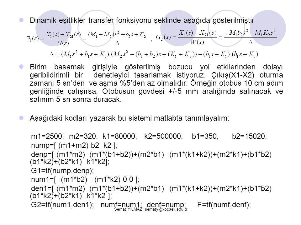 Serhat YILMAZ, serhaty@kocaeli.edu.tr  Dinamik eşitlikler transfer fonksiyonu şeklinde aşağıda gösterilmiştir,  Birim basamak girişiyle gösterilmiş