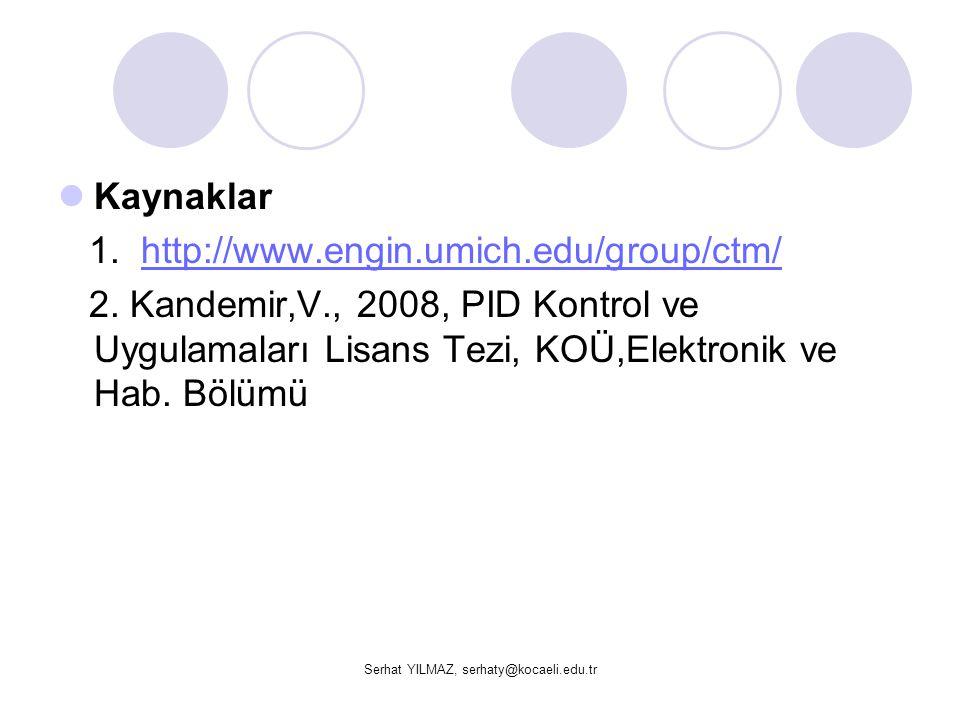 Serhat YILMAZ, serhaty@kocaeli.edu.tr  Kaynaklar 1. http://www.engin.umich.edu/group/ctm/http://www.engin.umich.edu/group/ctm/ 2. Kandemir,V., 2008,