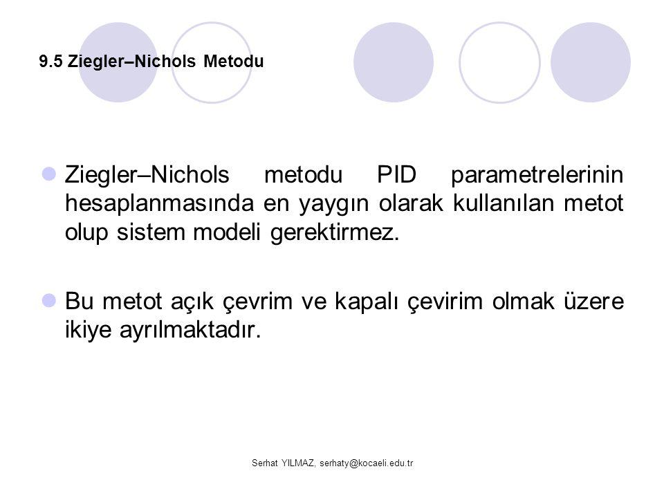 Serhat YILMAZ, serhaty@kocaeli.edu.tr 9.5 Ziegler–Nichols Metodu  Ziegler–Nichols metodu PID parametrelerinin hesaplanmasında en yaygın olarak kullan