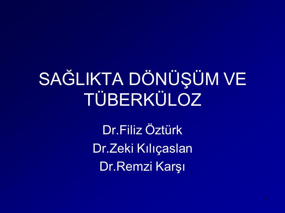 Tüberküloz Kontrolü •DGTS-DGT •2000 yılı Nazilli VSD Gönüllü DGT •2003 yılı Pilot İller Samsun-İzmir-Aydın •2006 Temmuz DGT yaygınlaştırılması •Tüberküloz Kontrolünde Ülke hedefleri; •%83 olan tedavi başarısının %85'in üzerine çıkarılması, •bakteriolojik muayene yapılan tüberküloz hastası oranının %67'den %85-90'na çıkarılması, •%3 olan primer ilaç direncinin daha da düşürülmesi 22