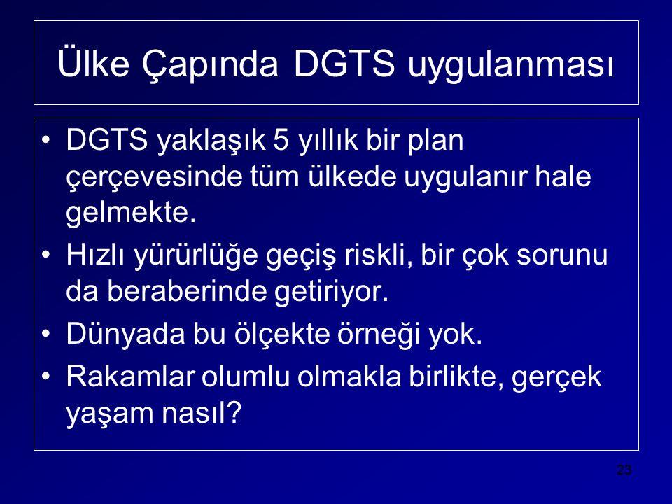Ülke Çapında DGTS uygulanması •DGTS yaklaşık 5 yıllık bir plan çerçevesinde tüm ülkede uygulanır hale gelmekte. •Hızlı yürürlüğe geçiş riskli, bir çok