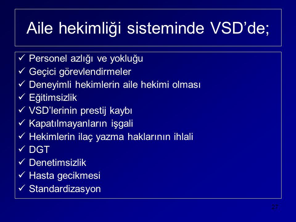Aile hekimliği sisteminde VSD'de;  Personel azlığı ve yokluğu  Geçici görevlendirmeler  Deneyimli hekimlerin aile hekimi olması  Eğitimsizlik  VS