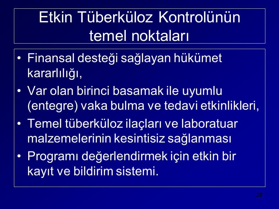 Etkin Tüberküloz Kontrolünün temel noktaları •Finansal desteği sağlayan hükümet kararlılığı, •Var olan birinci basamak ile uyumlu (entegre) vaka bulma