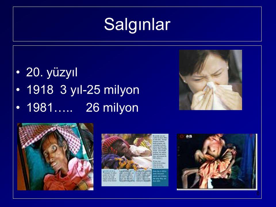 Salgınlar •20. yüzyıl •1918 3 yıl-25 milyon •1981….. 26 milyon 8