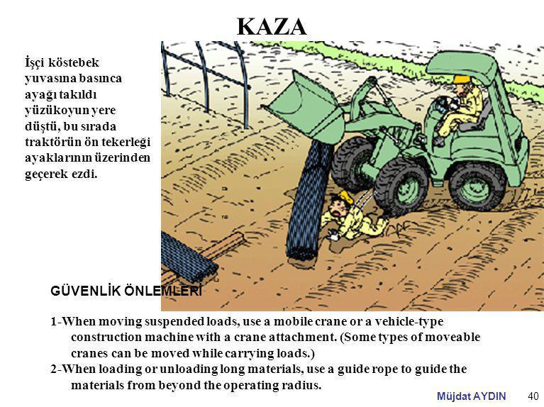 Müjdat AYDIN40 KAZA İşçi köstebek yuvasına basınca ayağı takıldı yüzükoyun yere düştü, bu sırada traktörün ön tekerleği ayaklarının üzerinden geçerek