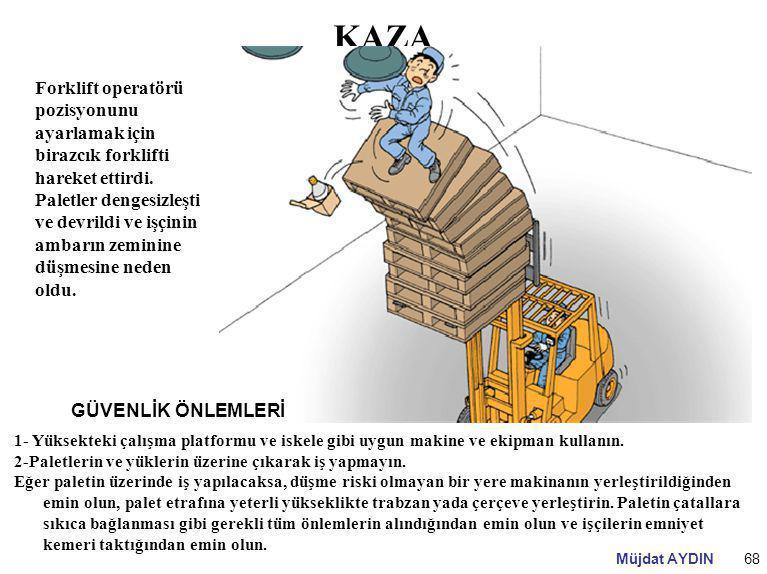 Müjdat AYDIN68 KAZA Forklift operatörü pozisyonunu ayarlamak için birazcık forklifti hareket ettirdi. Paletler dengesizleşti ve devrildi ve işçinin am