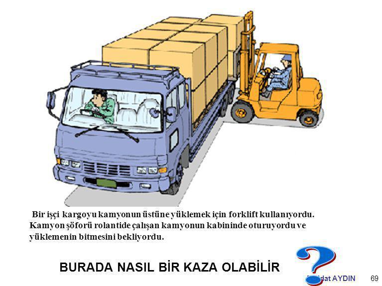 Müjdat AYDIN69 Bir işçi kargoyu kamyonun üstüne yüklemek için forklift kullanıyordu. Kamyon şöforü rolantide çalışan kamyonun kabininde oturuyordu ve