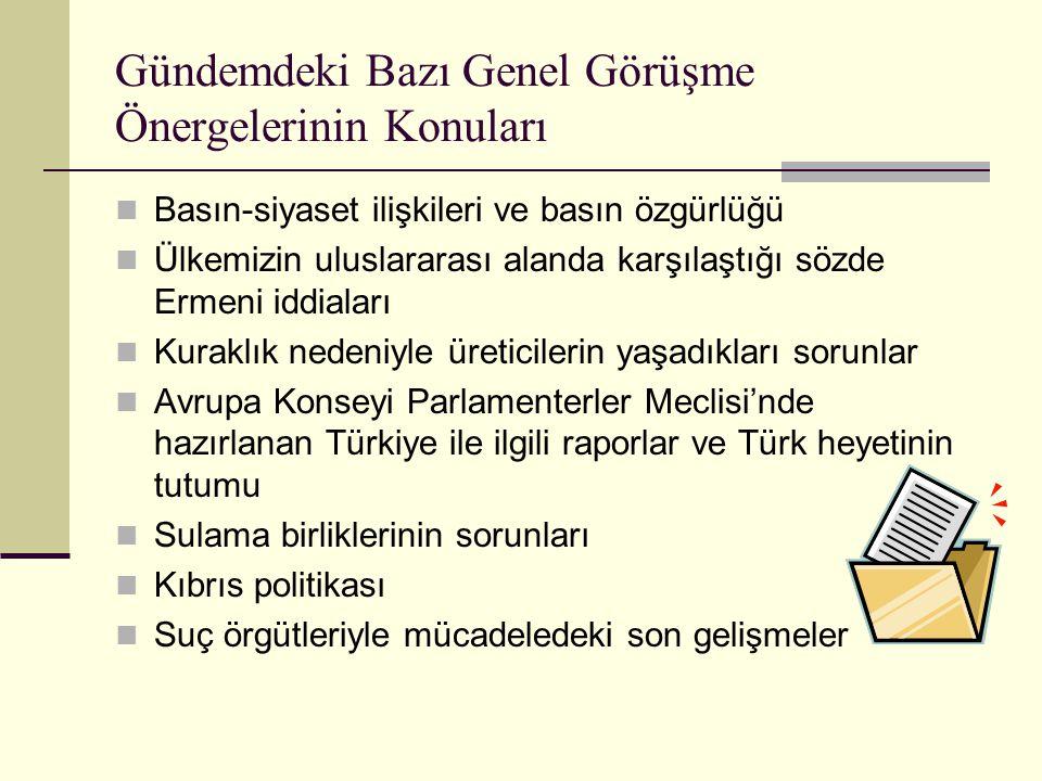 Gündemdeki Bazı Genel Görüşme Önergelerinin Konuları  Basın-siyaset ilişkileri ve basın özgürlüğü  Ülkemizin uluslararası alanda karşılaştığı sözde Ermeni iddiaları  Kuraklık nedeniyle üreticilerin yaşadıkları sorunlar  Avrupa Konseyi Parlamenterler Meclisi'nde hazırlanan Türkiye ile ilgili raporlar ve Türk heyetinin tutumu  Sulama birliklerinin sorunları  Kıbrıs politikası  Suç örgütleriyle mücadeledeki son gelişmeler