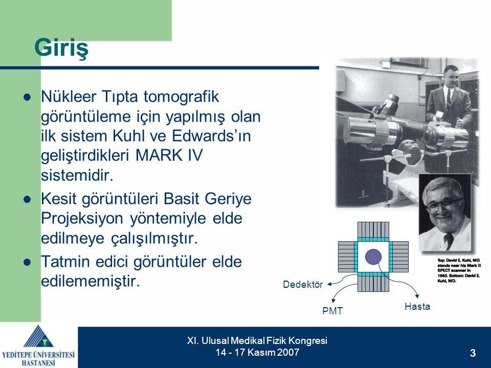 3 XI. Ulusal Medikal Fizik Kongresi 14 - 17 Kasım 2007 Giriş  Nükleer Tıpta tomografik görüntüleme için yapılmış olan ilk sistem Kuhl ve Edwards'ın g