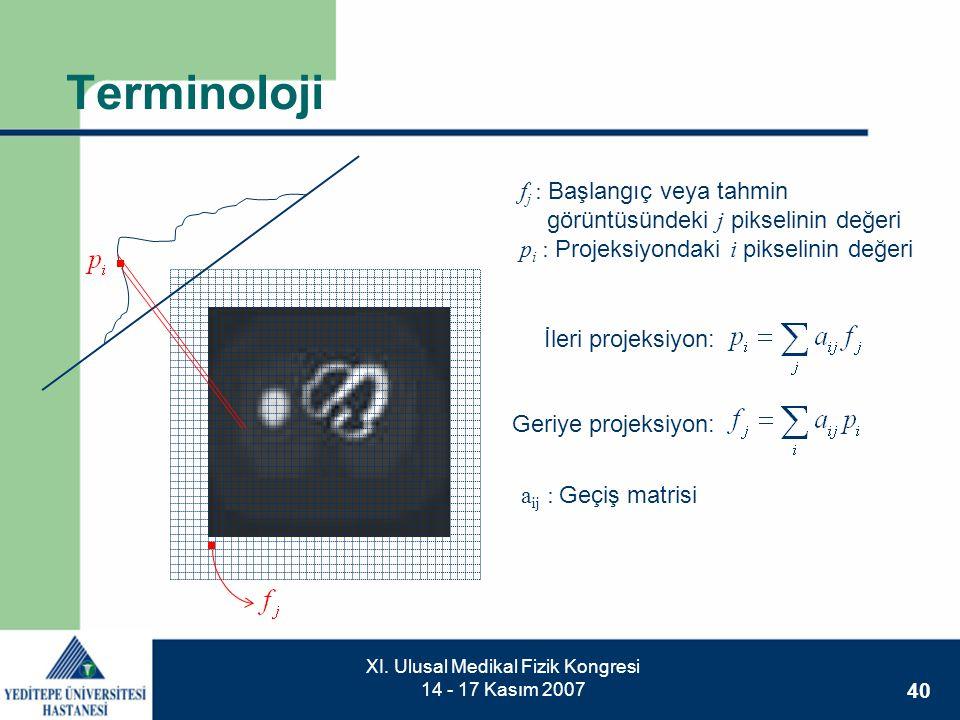 40 XI. Ulusal Medikal Fizik Kongresi 14 - 17 Kasım 2007 Terminoloji f j : Başlangıç veya tahmin görüntüsündeki j pikselinin değeri p i : Projeksiyonda