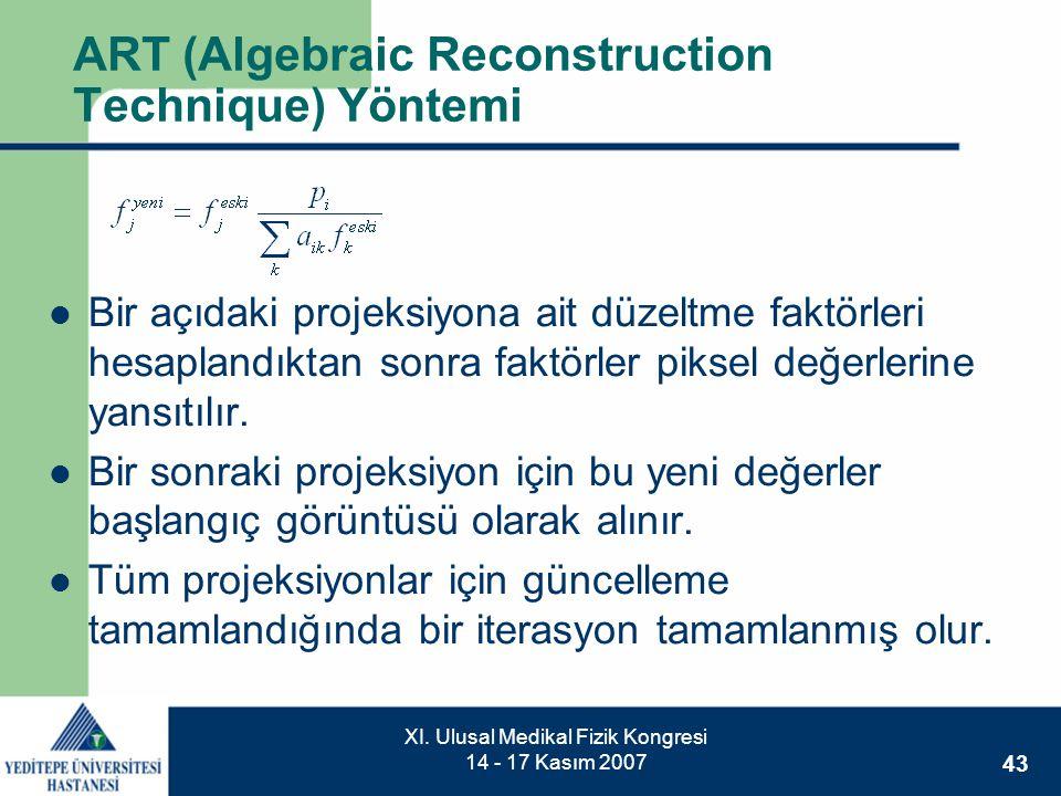 43 XI. Ulusal Medikal Fizik Kongresi 14 - 17 Kasım 2007 ART (Algebraic Reconstruction Technique) Yöntemi  Bir açıdaki projeksiyona ait düzeltme faktö