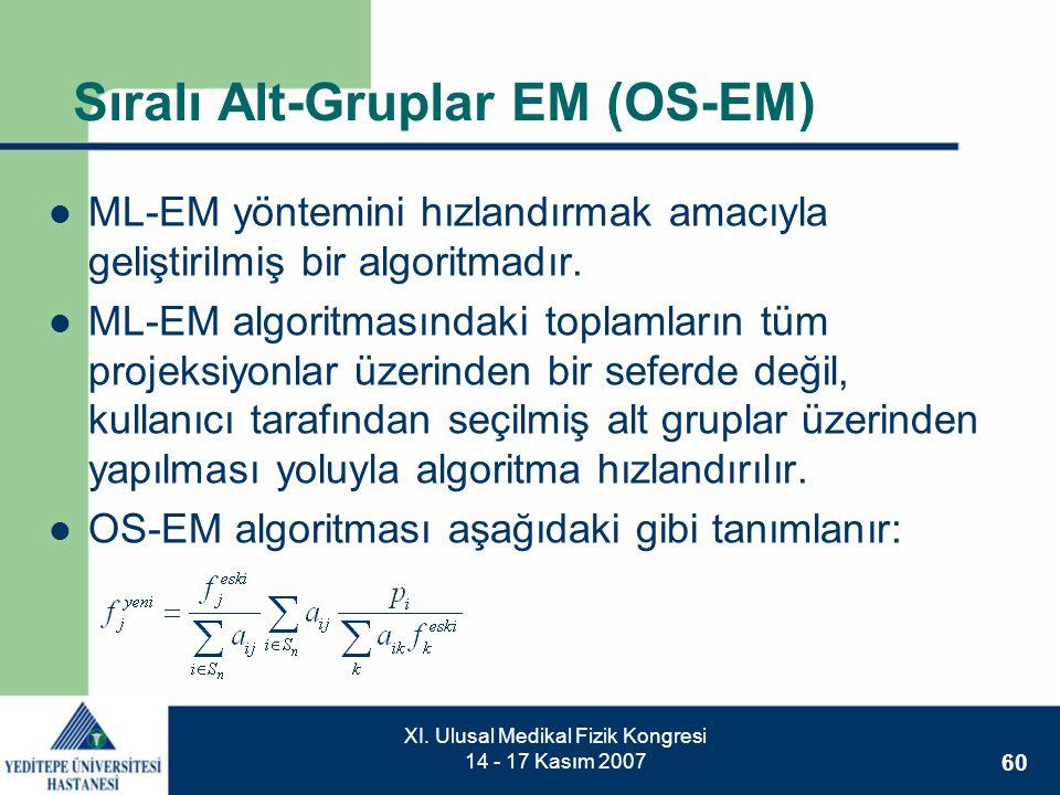 60 XI. Ulusal Medikal Fizik Kongresi 14 - 17 Kasım 2007 Sıralı Alt-Gruplar EM (OS-EM)  ML-EM yöntemini hızlandırmak amacıyla geliştirilmiş bir algori