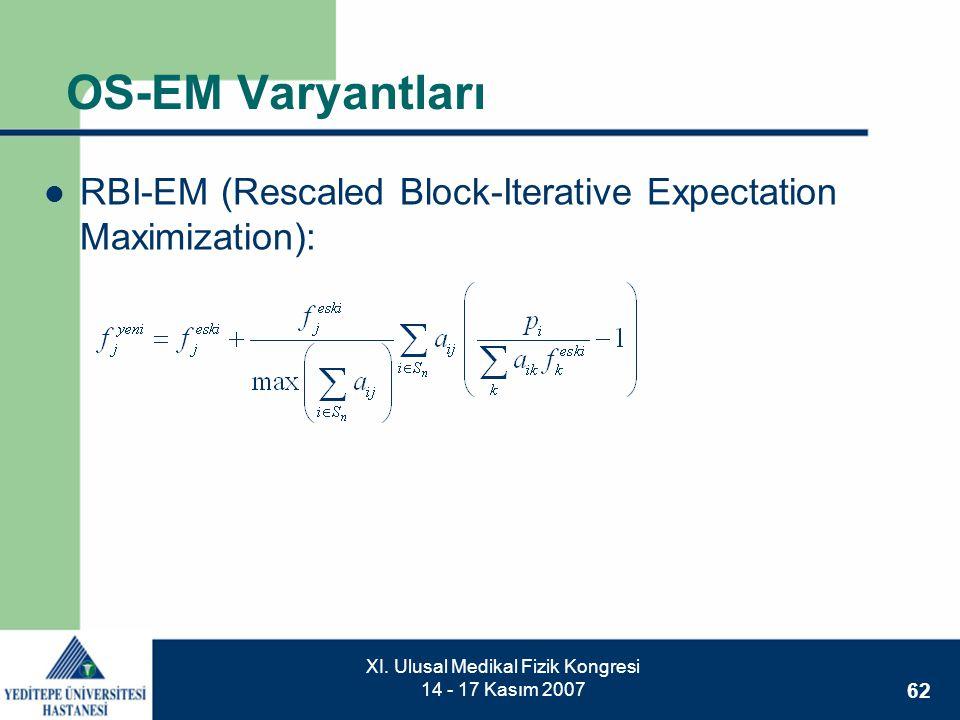 62 XI. Ulusal Medikal Fizik Kongresi 14 - 17 Kasım 2007 OS-EM Varyantları  RBI-EM (Rescaled Block-Iterative Expectation Maximization):