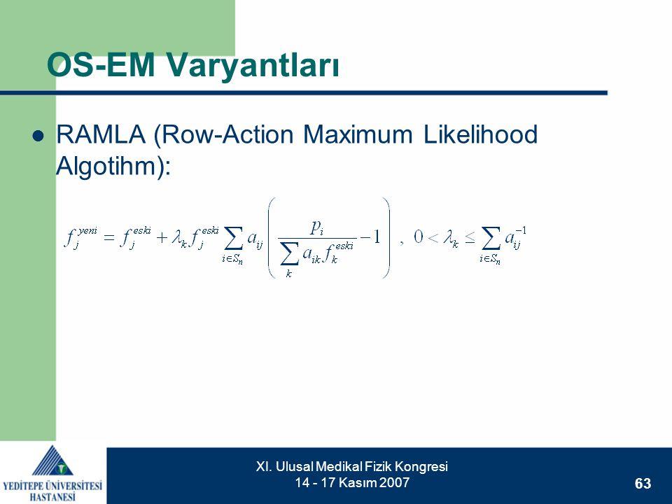 63 XI. Ulusal Medikal Fizik Kongresi 14 - 17 Kasım 2007 OS-EM Varyantları  RAMLA (Row-Action Maximum Likelihood Algotihm):