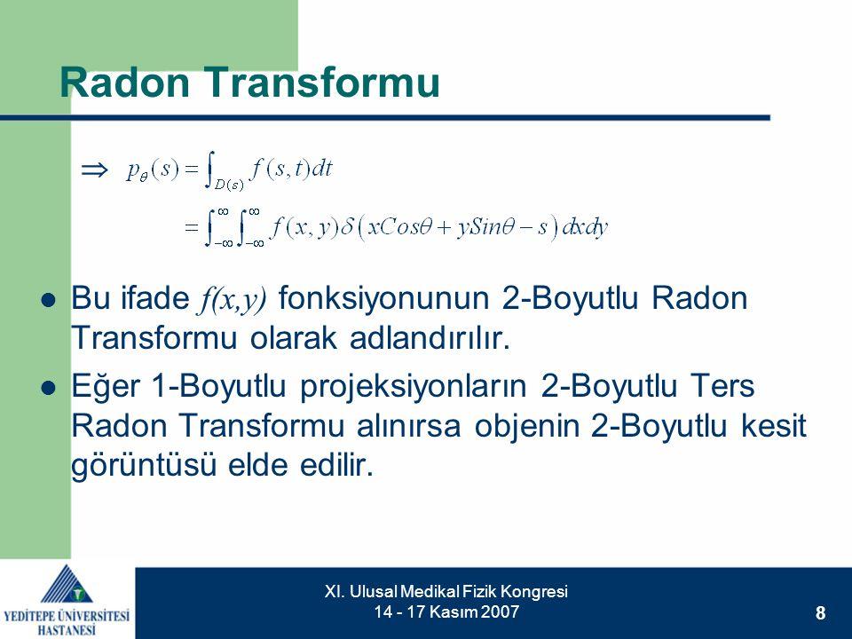 8 XI. Ulusal Medikal Fizik Kongresi 14 - 17 Kasım 2007 Radon Transformu  Bu ifade f(x,y) fonksiyonunun 2-Boyutlu Radon Transformu olarak adlandırılır