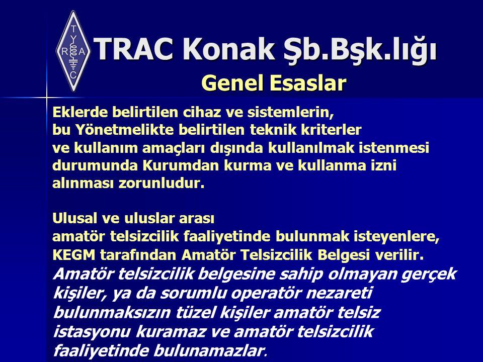TRAC Konak Şb.Bşk.lığı Genel Esaslar Eklerde belirtilen cihaz ve sistemlerin, bu Yönetmelikte belirtilen teknik kriterler ve kullanım amaçları dışında kullanılmak istenmesi durumunda Kurumdan kurma ve kullanma izni alınması zorunludur.