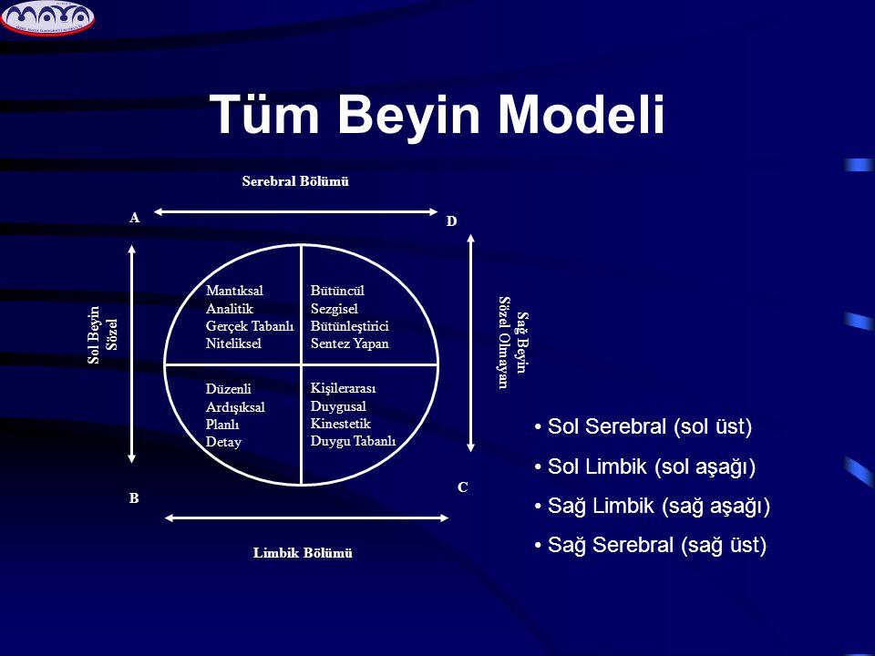 Tüm Beyin Modeli Bütüncül Sezgisel Bütünleştirici Sentez Yapan Kişilerarası Duygusal Kinestetik Duygu Tabanlı Mantıksal Analitik Gerçek Tabanlı Niteliksel Düzenli Ardışıksal Planlı Detay D C B A Serebral Bölümü Sağ Beyin Sözel Olmayan Sol Beyin Sözel Limbik Bölümü • Sol Serebral (sol üst) • Sol Limbik (sol aşağı) • Sağ Limbik (sağ aşağı) • Sağ Serebral (sağ üst)