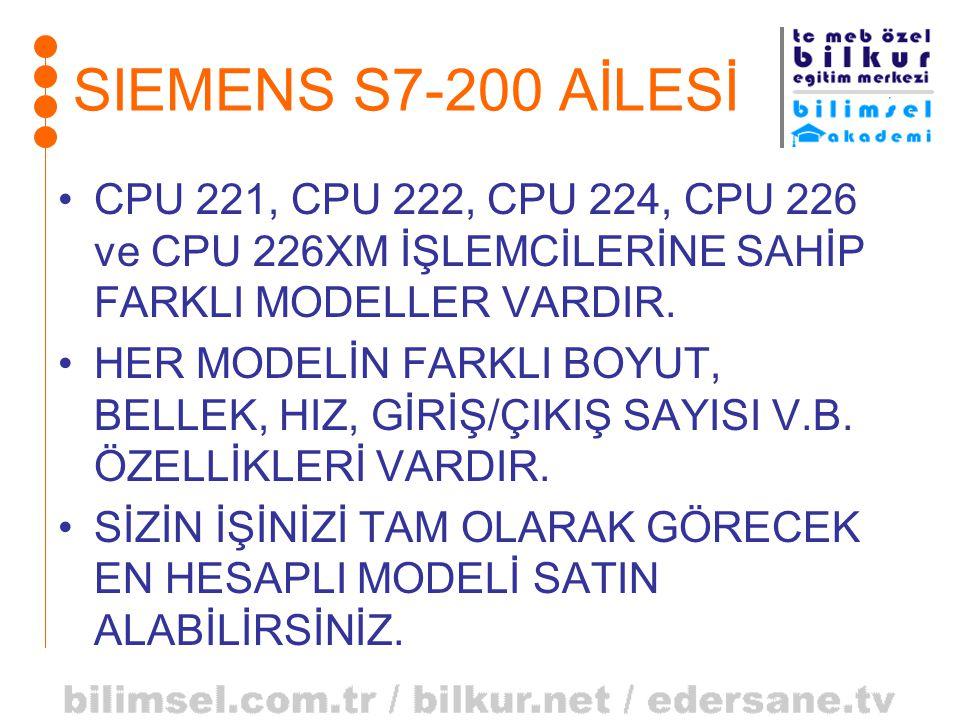 •CPU 221, CPU 222, CPU 224, CPU 226 ve CPU 226XM İŞLEMCİLERİNE SAHİP FARKLI MODELLER VARDIR. •HER MODELİN FARKLI BOYUT, BELLEK, HIZ, GİRİŞ/ÇIKIŞ SAYIS