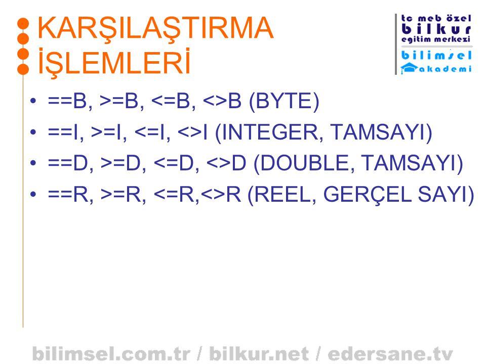 KARŞILAŞTIRMA İŞLEMLERİ •==B, >=B, B (BYTE) •==I, >=I, I (INTEGER, TAMSAYI) •==D, >=D, D (DOUBLE, TAMSAYI) •==R, >=R, R (REEL, GERÇEL SAYI)