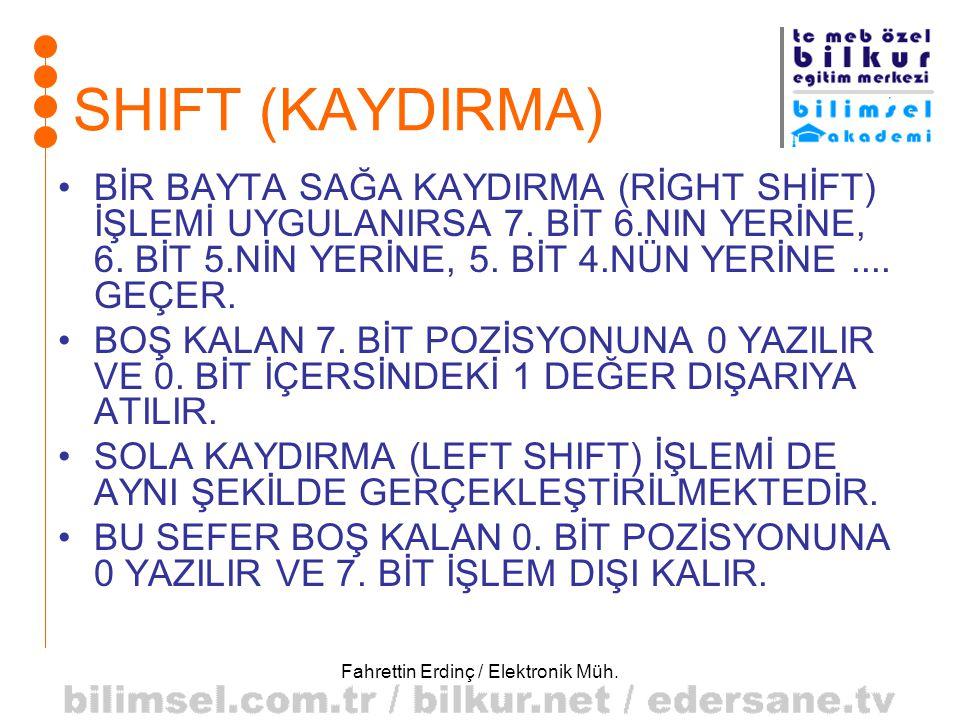Fahrettin Erdinç / Elektronik Müh. SHIFT (KAYDIRMA) •BİR BAYTA SAĞA KAYDIRMA (RİGHT SHİFT) İŞLEMİ UYGULANIRSA 7. BİT 6.NIN YERİNE, 6. BİT 5.NİN YERİNE