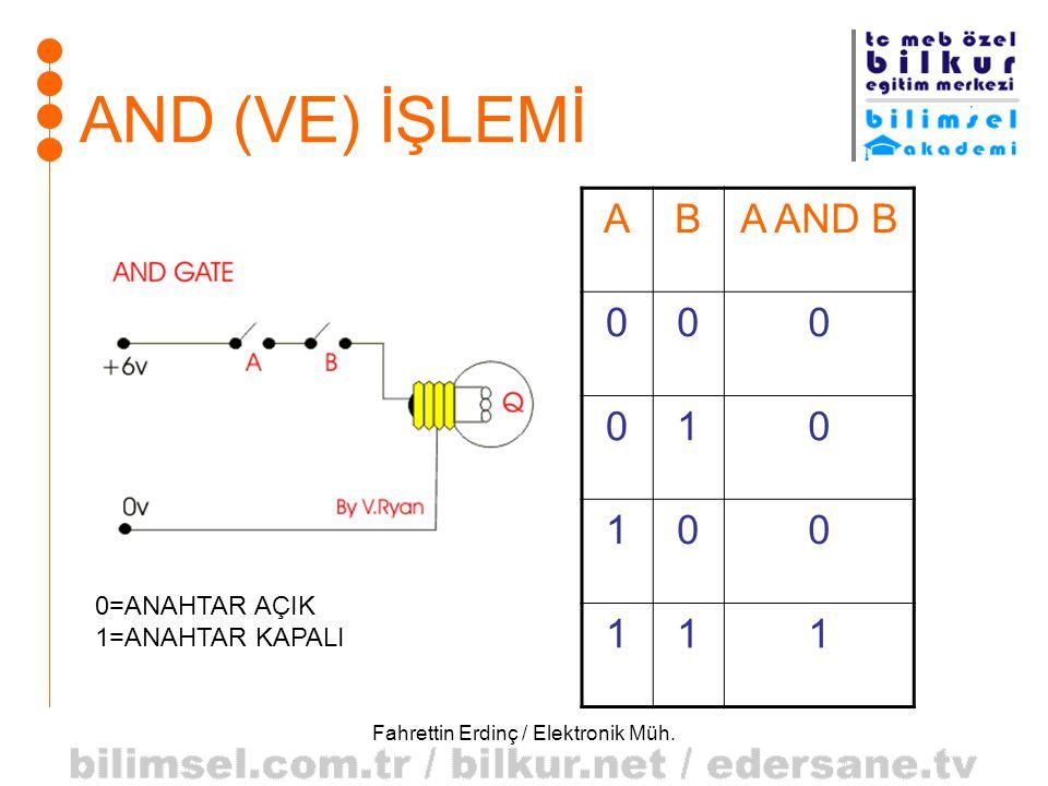 Fahrettin Erdinç / Elektronik Müh. AND (VE) İŞLEMİ ABA AND B 000 010 100 111 0=ANAHTAR AÇIK 1=ANAHTAR KAPALI