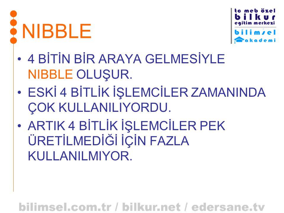 NIBBLE •4 BİTİN BİR ARAYA GELMESİYLE NIBBLE OLUŞUR. •ESKİ 4 BİTLİK İŞLEMCİLER ZAMANINDA ÇOK KULLANILIYORDU. •ARTIK 4 BİTLİK İŞLEMCİLER PEK ÜRETİLMEDİĞ