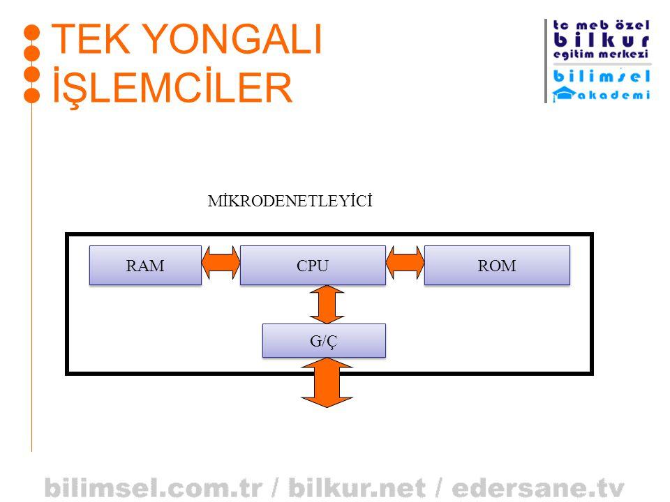 TEK YONGALI İŞLEMCİLER RAM G/Ç CPU ROM MİKRODENETLEYİCİ