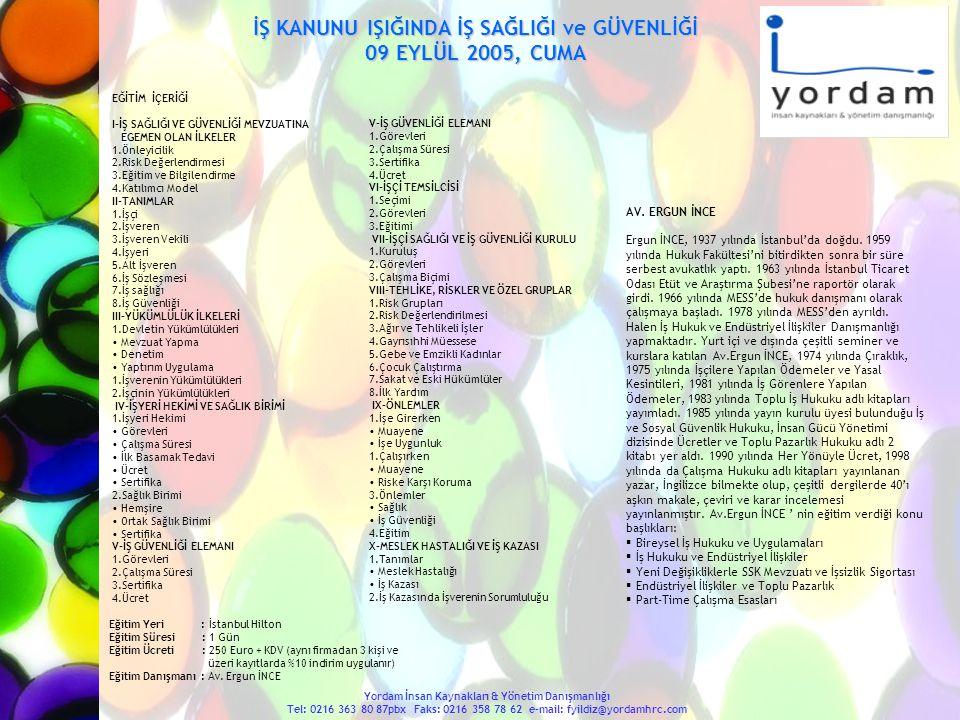 PROJE FiNANSMANI 16-17 EYLÜL 2005, CUMA-CMT.