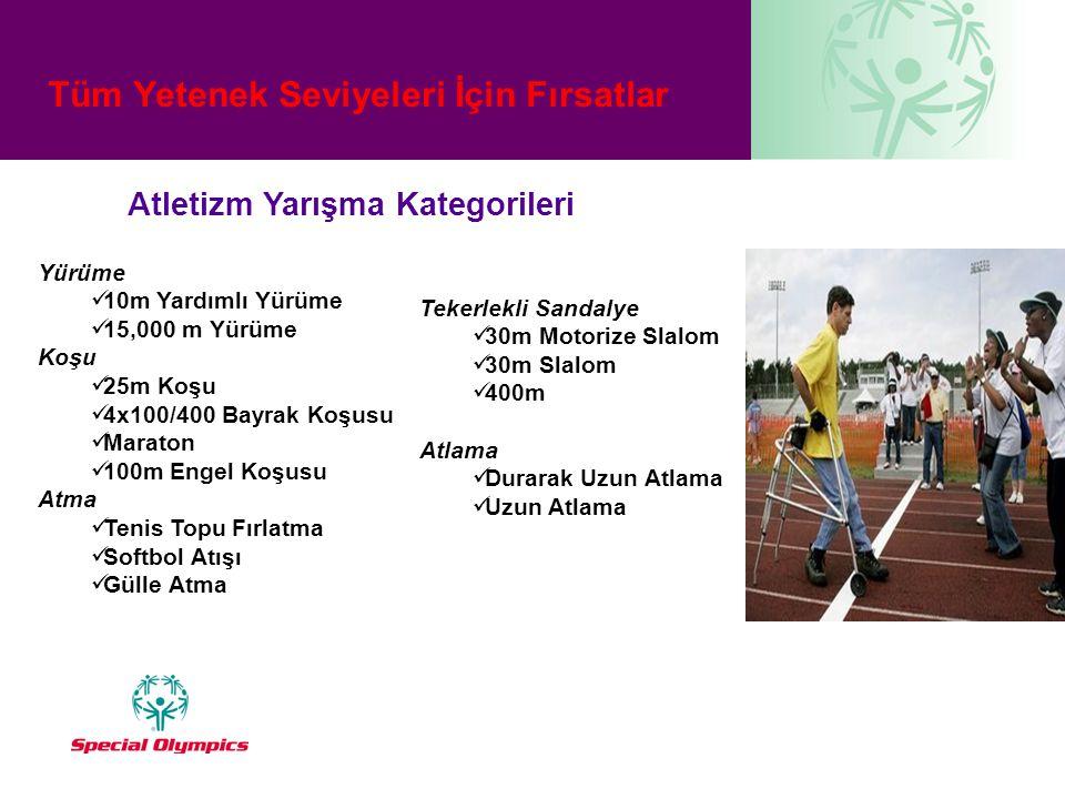 Tüm Yetenek Seviyeleri İçin Fırsatlar Atletizm Yarışma Kategorileri Yürüme  10m Yardımlı Yürüme  15,000 m Yürüme Koşu  25m Koşu  4x100/400 Bayrak